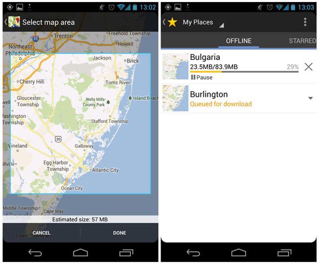 Sử dụng dữ liệu bản đồ offline của Google Maps