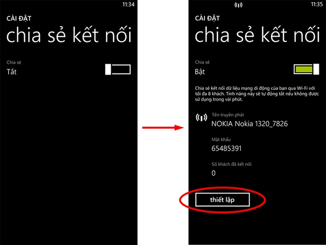 Bật Wifi Hotspot trên Windows Phone