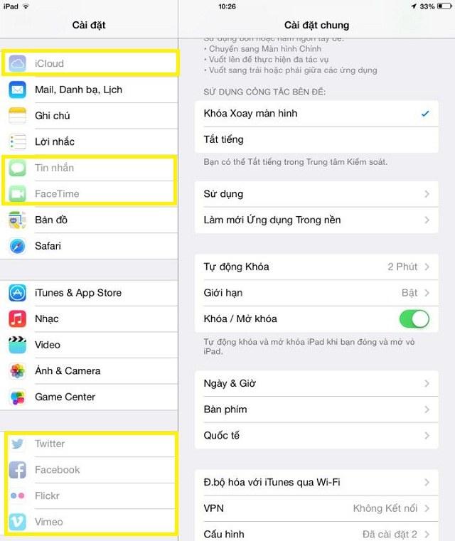 iCloud, tin nhắn, FaceTime… đã bị giới hạn thay đổi tài khoản