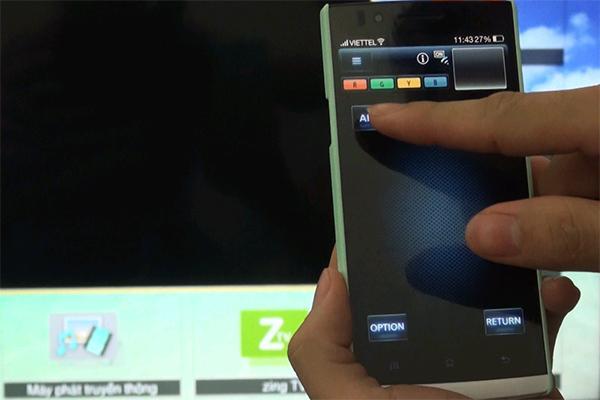 Giao diện chính của phần pad điều khiển cho phép người dùng vuốt để điều khiển tivi