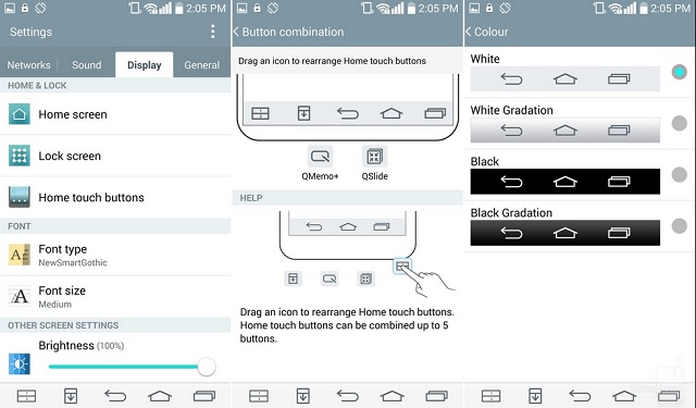 LG cung cấp cho người dùng khả năng tùy chỉnh các phím điều hướng trên G3