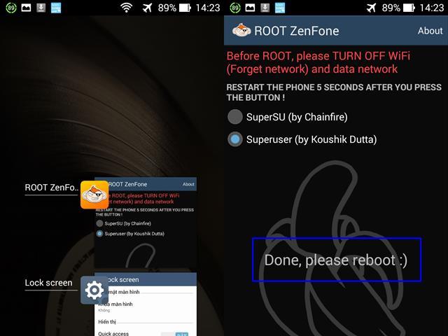 """Tiếp theo bấm phím đa nhiệm > Clear All > vô lại ứng dụng Root kiểm tra xem Root thành công chưa, nếu chưa làm lại một lần nữa sẽ thấy thông báo """"Done, Please reboot :)"""" > khởi động lại máy"""
