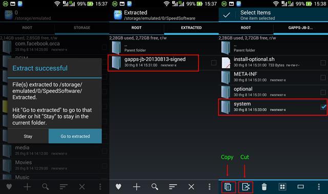 Sau khi giải nén hoàn tất, chọn Go to extracted > vào thư mục gapps-jb-20130813-signed > tick chọn thư mục system > copy đè sang thư mục system của bên tab Root, như hình minh họa phía dưới