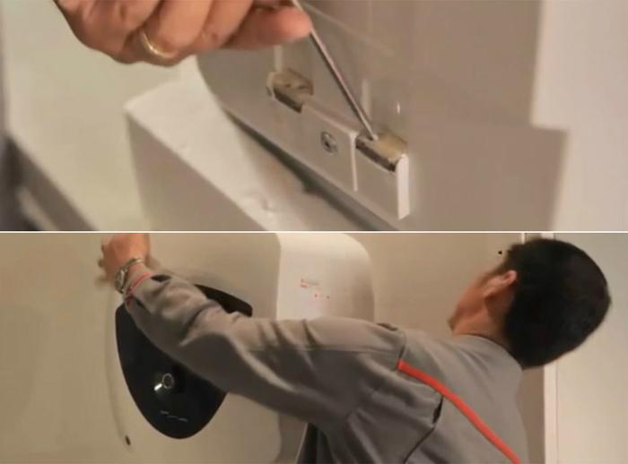 Gắn máy nước nóng gián tiếp lên móc treo