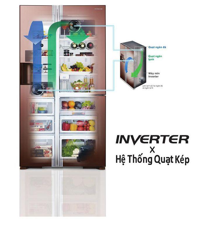 Hệ thống quạt kép trên tủ lạnh Hitachi làm lạnh độc lập, mạnh mẽ