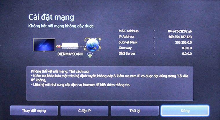 Tivi không thể kết nối với Modem