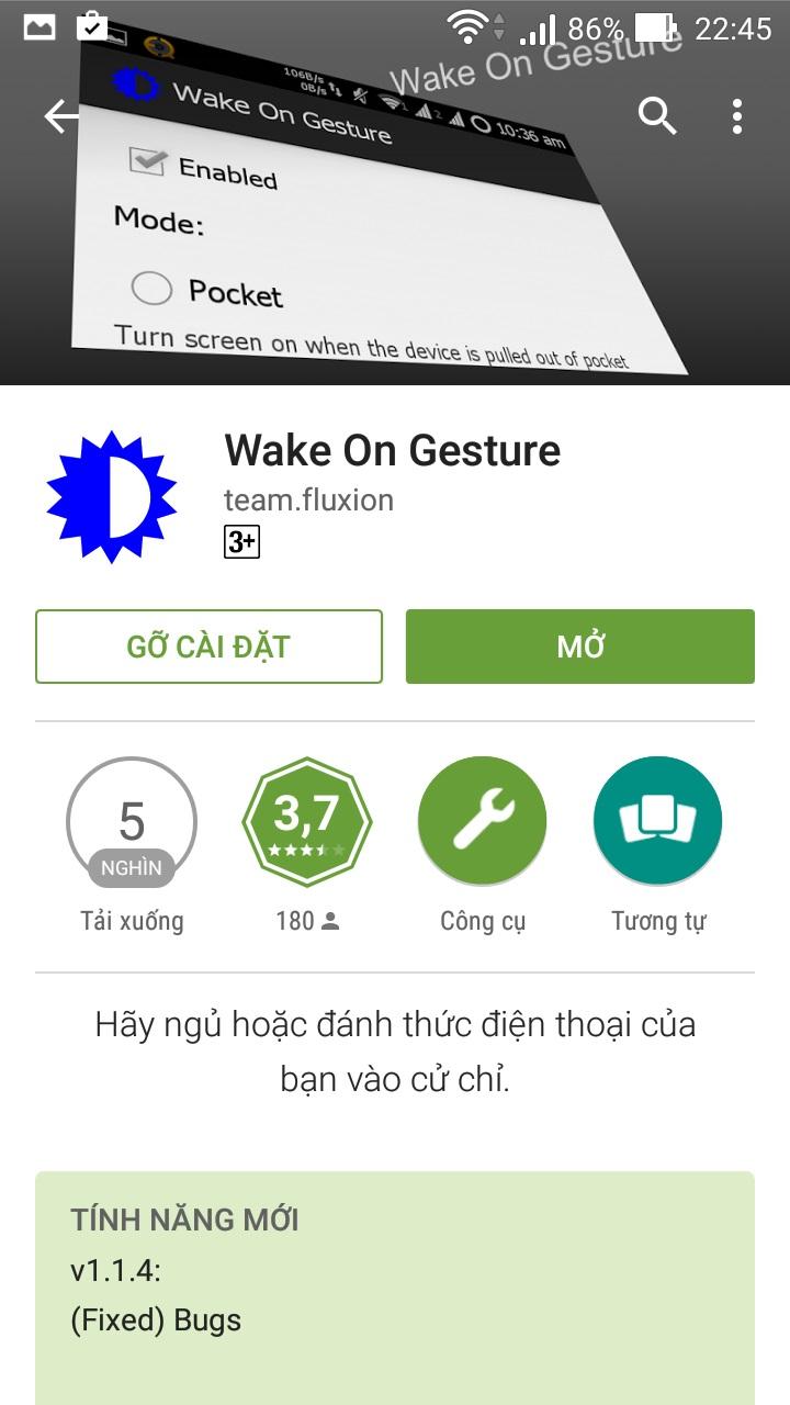 Tải và cài đặt Wake On Gesture