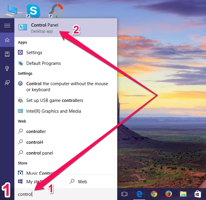 Nhấn phím Windows > gõ vào từ khóa control