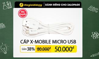 Cơ hội mua Cáp X-Mobile Micro USB giảm giá đến 38% trên Zalo Page Thế Giới Di Động