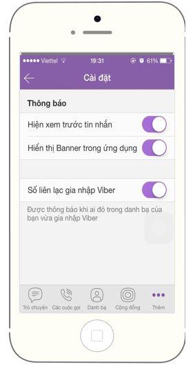 Viber không hiện thông báo 4
