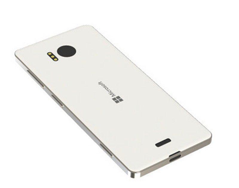 Mặt sau của chiếc Lumia 950 màu trắng và đen