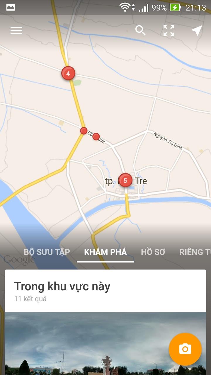 Khu vực xuất hiện những chấm đỏ sẽ tương ứng với bấy nhiêu bức ảnh Street View