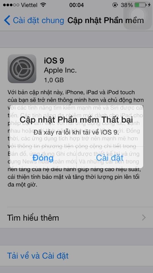 Lỗi không cập nhật được iOS 9