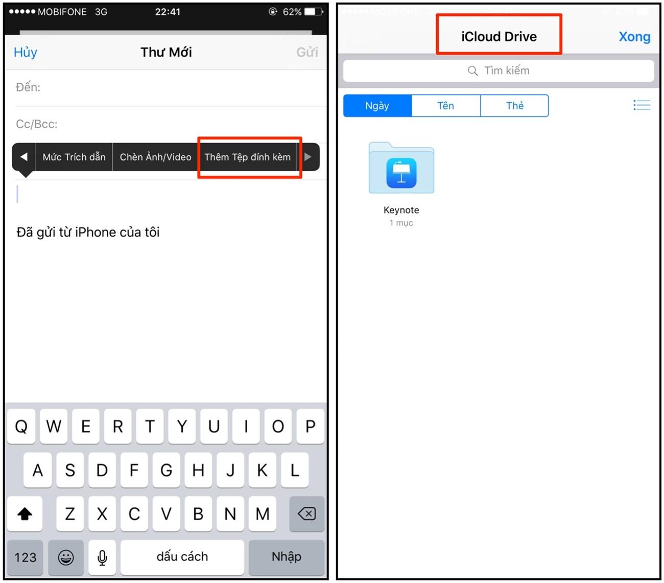 Bạn có thể đính kèm email từ iCloud Drive