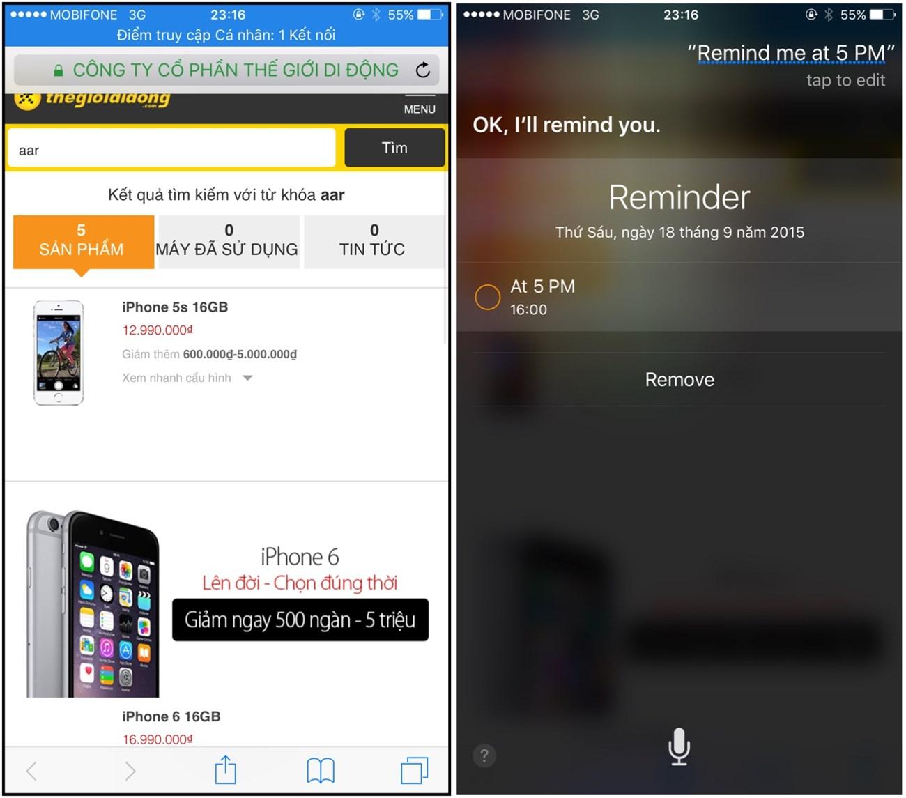 yêu cầu Siri đặt lịch nhắc nhở khi đang trong ứng dụng khác