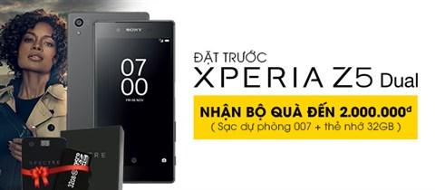 Đặt trước Sony Xperia Z5 Dual,  tặng Pin sạc dự phòng Spectre 007 Black và thẻ nhớ 32GB