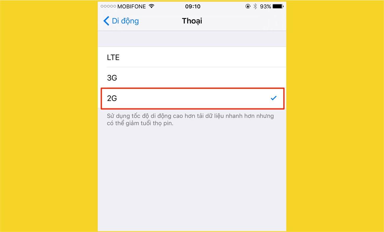 Tắt kết nối 3G/4G LTE