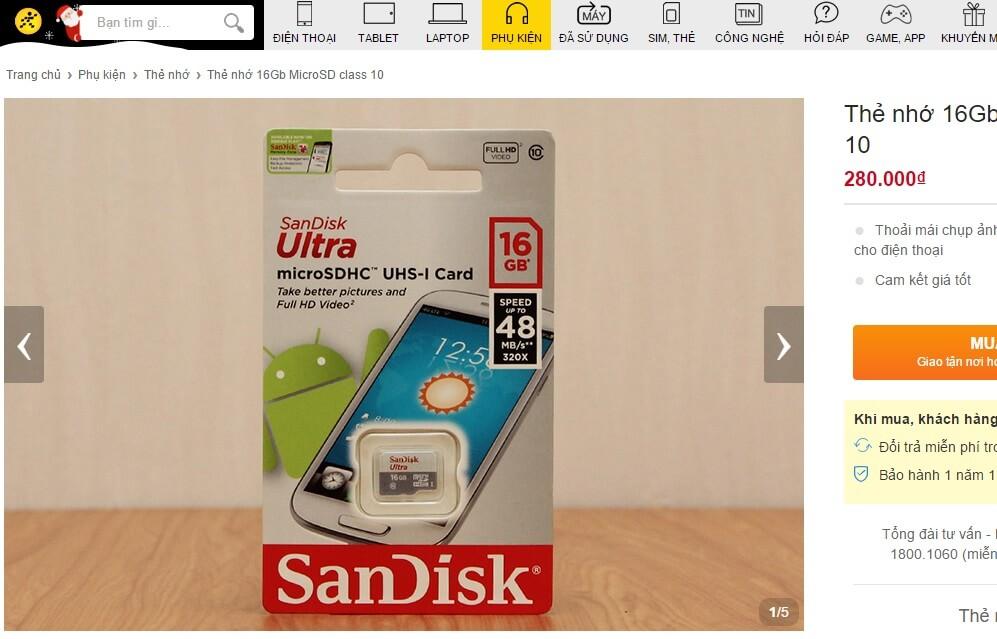 Thẻ nhớ 16GB MicroSD Class 10 có giá bán 280.000 đồng tại Thegioididong