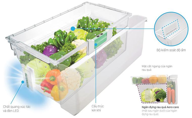 Ngăn rau củ thông minh Aero-Care trên tủ lạnh Hitachi