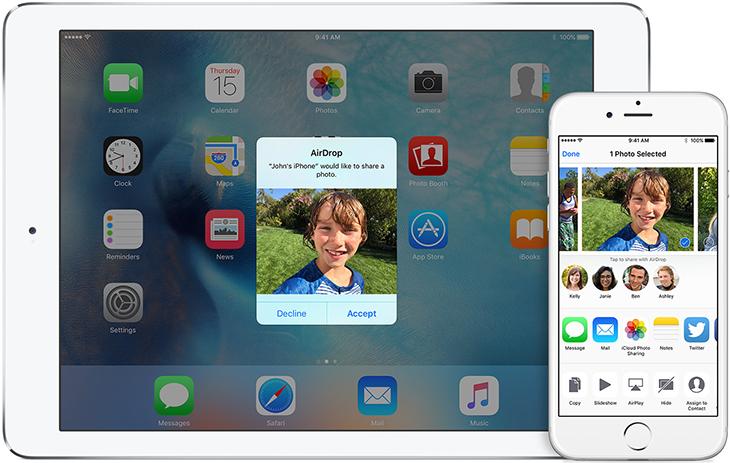 AirDrop cho phép chuyển nội dung giữa các thiết bị iOS với nhau