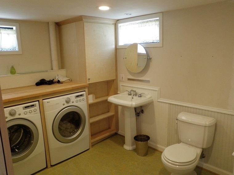 máy giặt trong phòng tắm, phòng vệ sinh