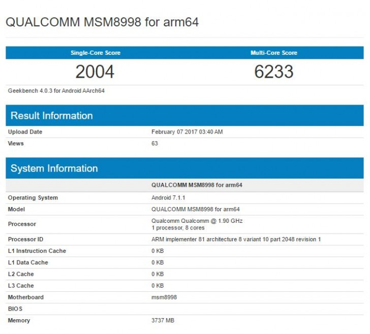 Lộ điểm số sức mạnh đáng nể của chip Snapdragon 835