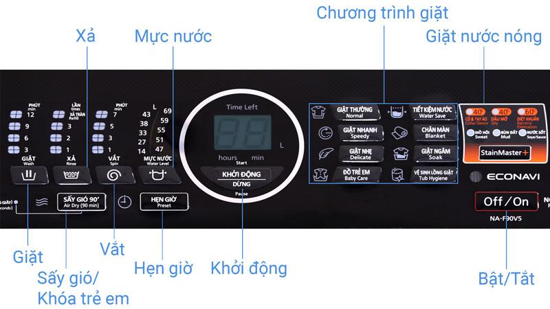 bảng điều khiển Panasonic 9kg NA-F90V5LMX
