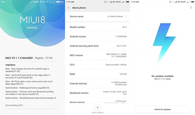 MIUI 9 trên Xiaomi Mi 5