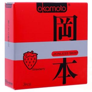 Bao cao su Okamoto Condom hương Dâu 52mm (hộp 3 cái)