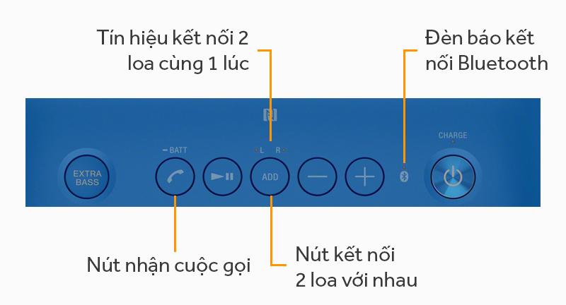 Loa bluetooth Sony SRS-XB20 - Các nút ấn trên loa