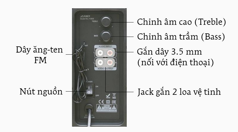 Loa vi tính Fenda F380X - Các nút điều khiển và cổng kết nối trên loa