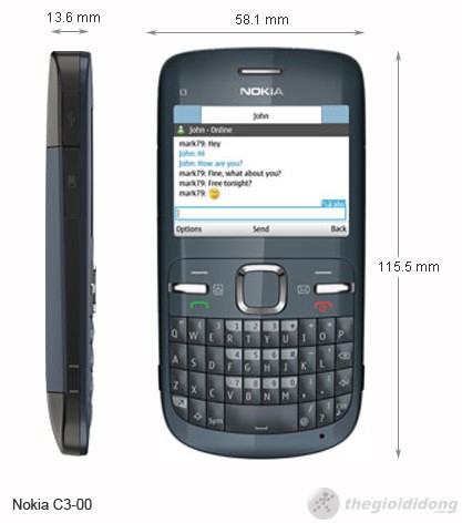 kích thước của Nokia C3-00