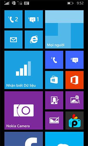 Giao diện màn hình chính Lumia 630