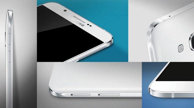 Galaxy A8 dễ cầm hơn khi được bo hơi tròn so với các cạnh vuông góc trên Galaxy A5 hay A7