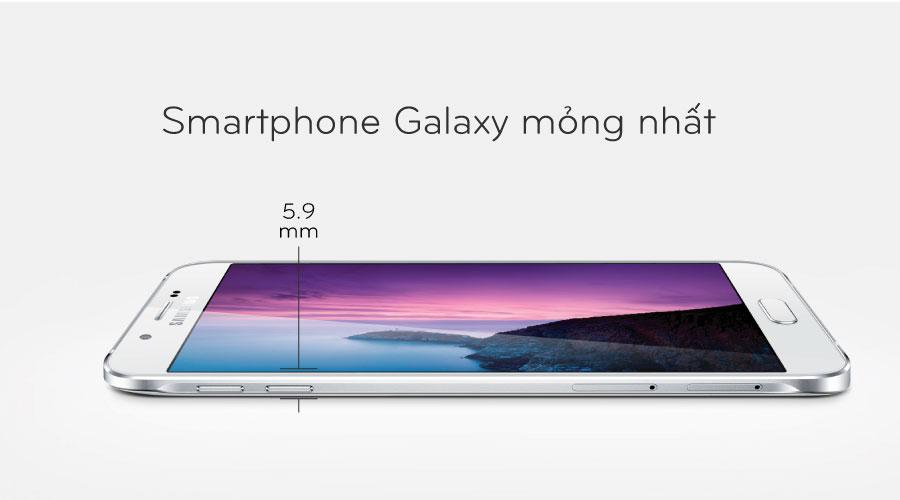 Galaxy A8 là smartphone mỏng nhất của Samsung trong năm 2015 với thiết kế màn hình lớn, khung kim loại sang trọng.