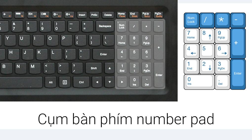 Trang bị bàn phím number pad tiện ích