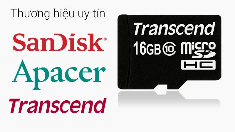 Thẻ nhớ 16GB MicroSD class 10 - Thương hiệu thẻ nhớ SanDick, Transcend và Apacer nổi tiếng toàn cầu