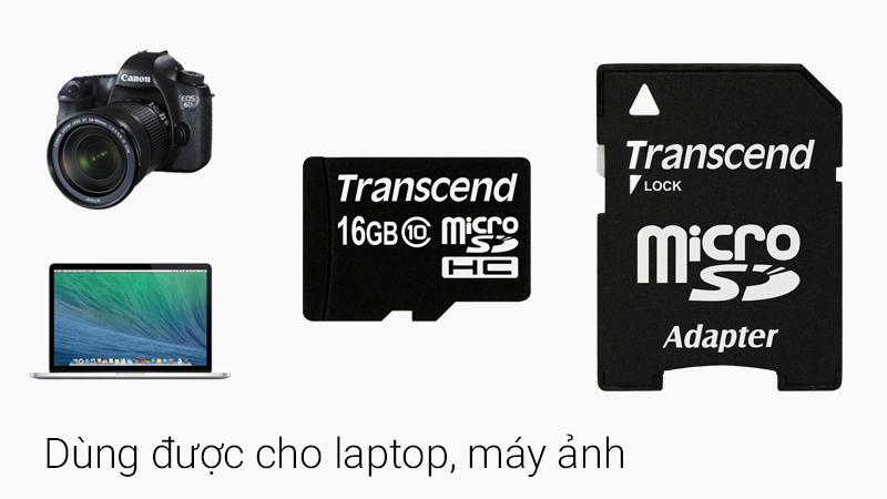 Thẻ nhớ 16GB MicroSD class 10 - Có thể gắn thẻ nhớ vào adapter để sử dụng cho nhiều thiết bị khác